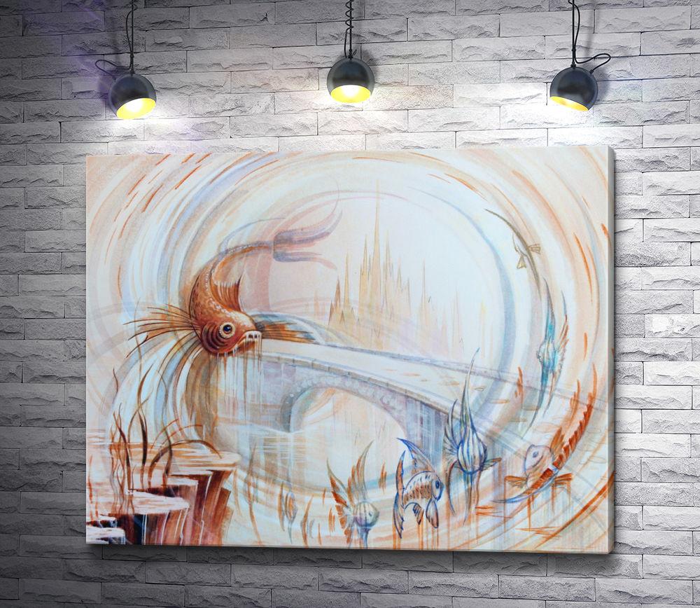 "Картина ""Иллюзия: рыба на фоне города"""