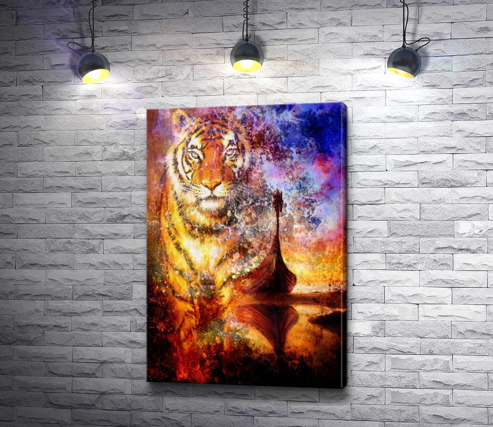 """Картина """"Деревянная лодка и тигровая голова """""""