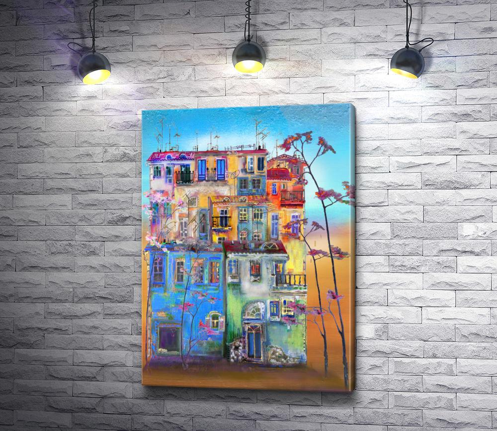 """Картина """"Разноцветный дом """""""