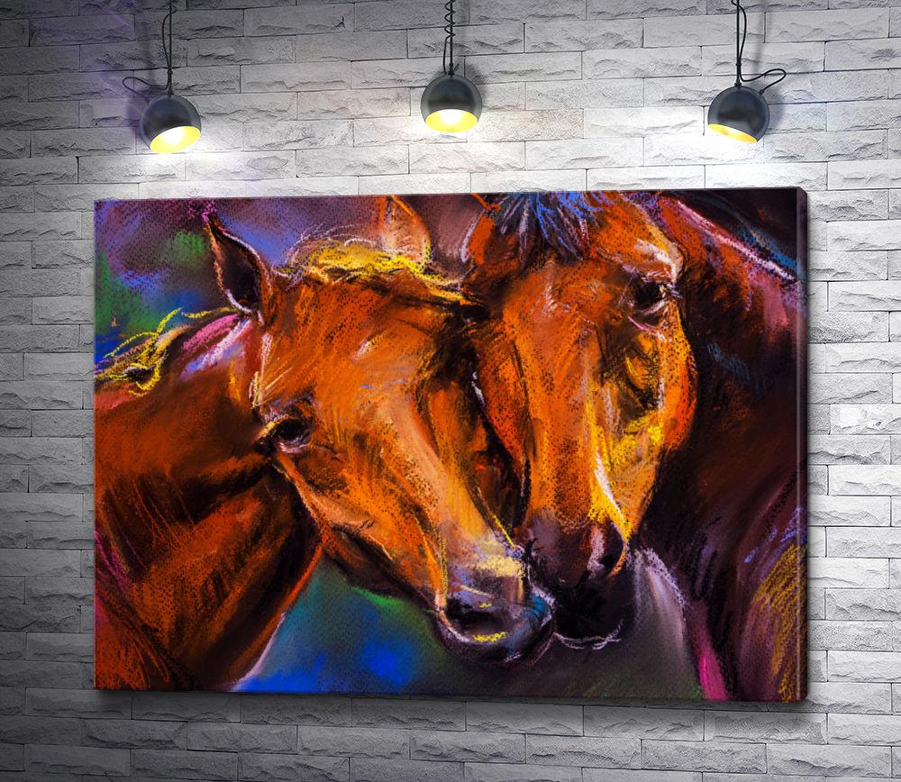 """Картина """"Две коричневые лошади """""""