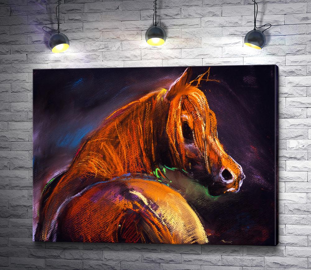 """Картина """"Изящная лошадь коричневого цвета """""""