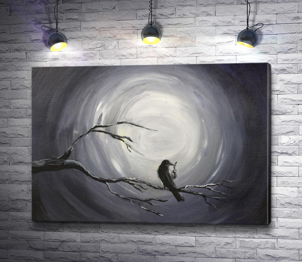 """Картина """"Ворон на ветке на фоне луны, картина в черно-белых тонах"""""""
