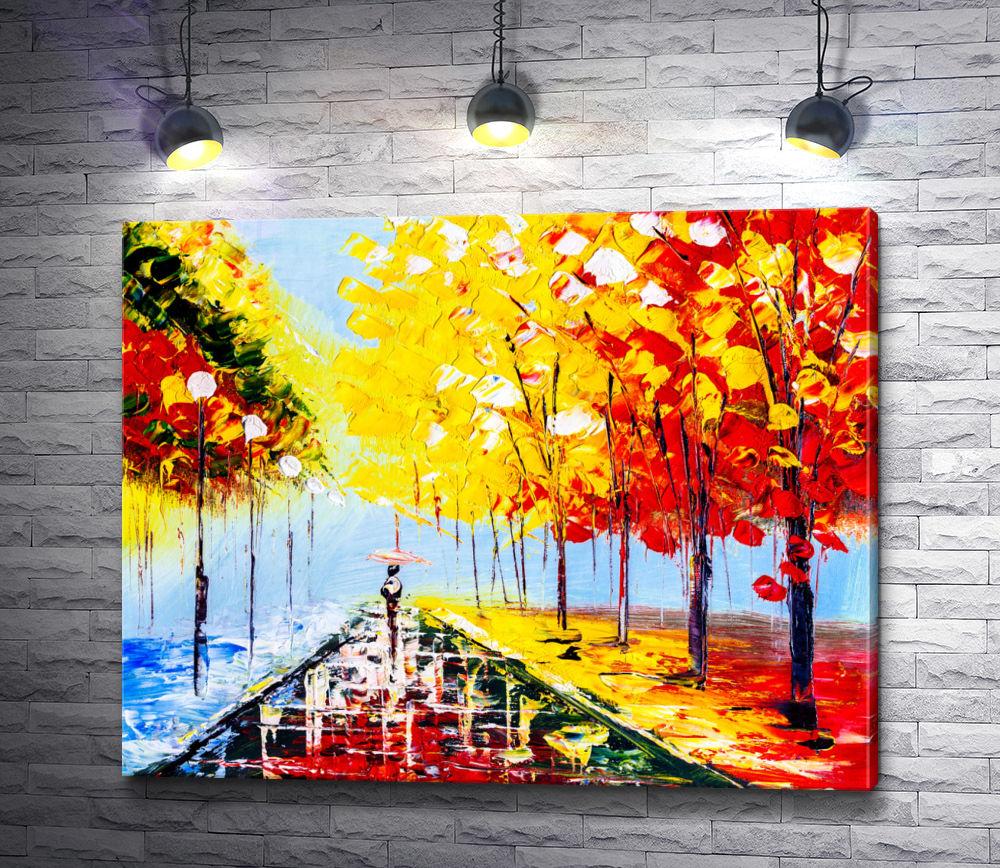 """Картина """"Парковая аллея в осенний дождливый день """""""
