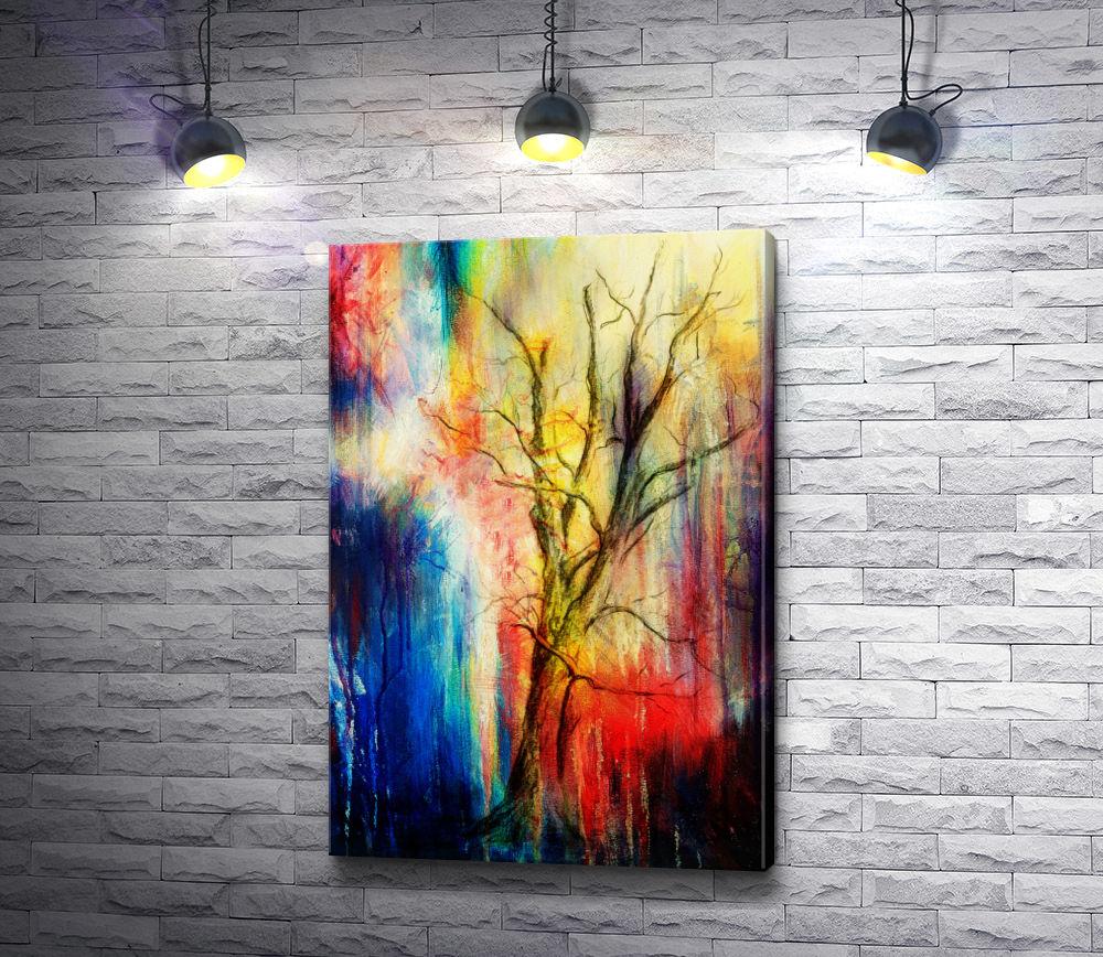 """Картина """"Дерево на разноцветном фоне"""""""