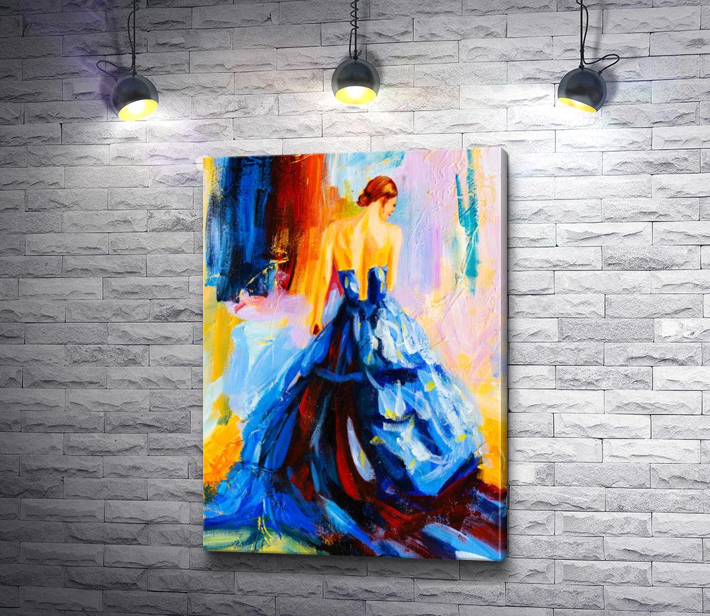 """Картина """"Изящная девушка в синем вечернем платье"""""""