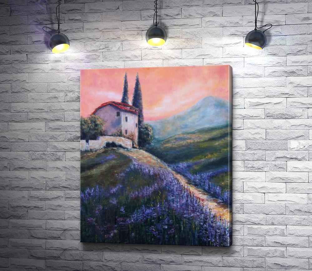 """Картина """"Дом на вершине холма с лавандой"""""""