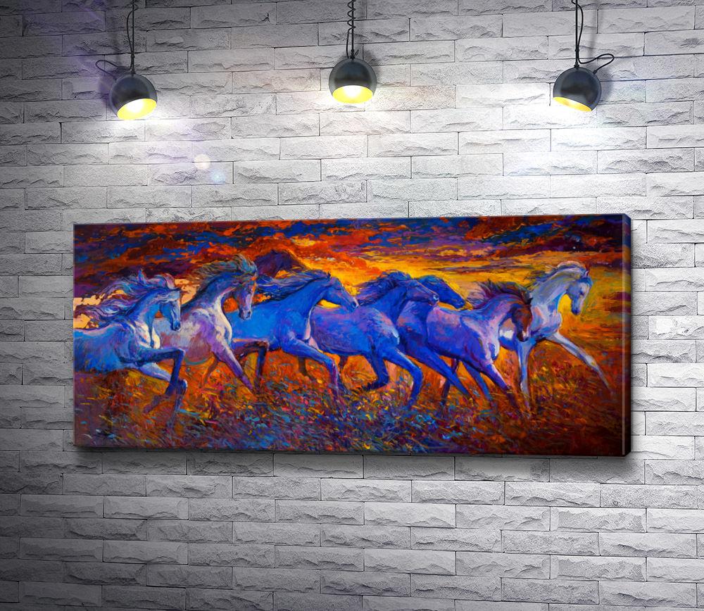 """Картина """"Табун лошадей на фоне заката"""""""