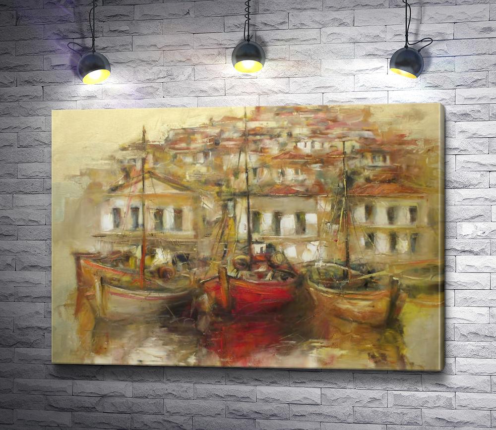 """Картина """"Лодки,  причаленные к городскому берегу"""""""