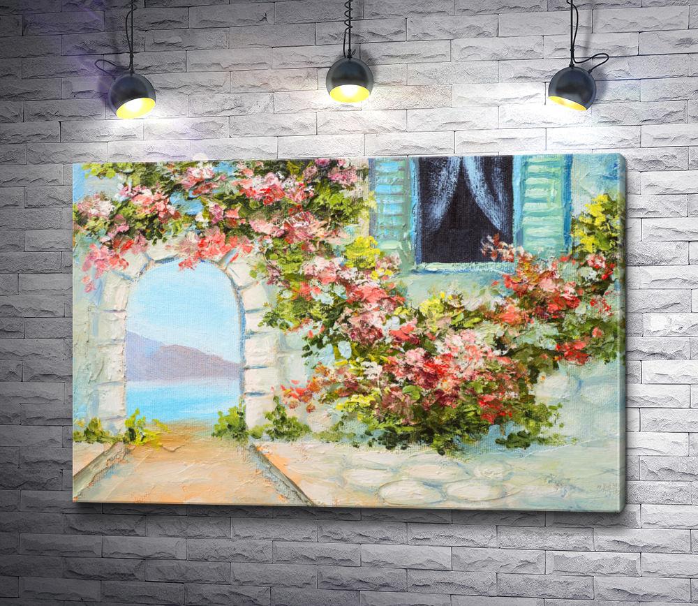 """Картина """"Вид на море через арку в цветах"""""""