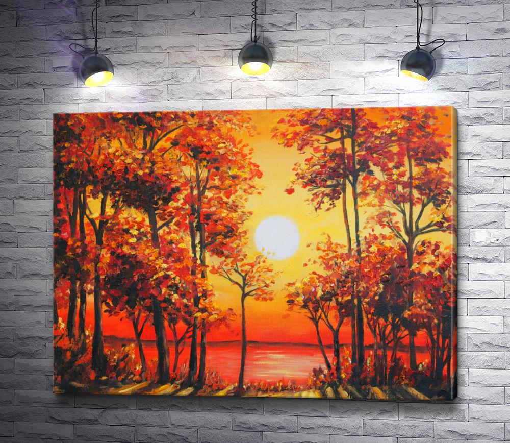 """Картина """"Огненный закат в осеннем лесу"""""""