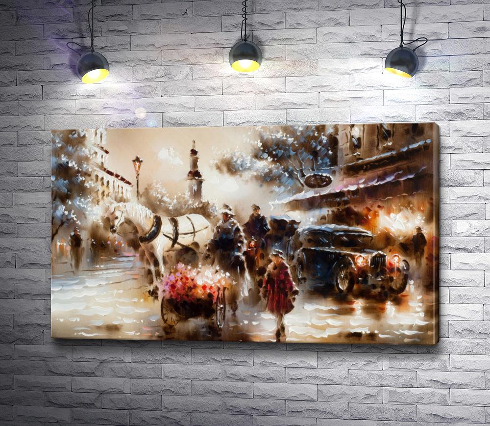 """Картина """"Лошадь в упряжке,  дама с тележкой цветов,  автомобиль """""""