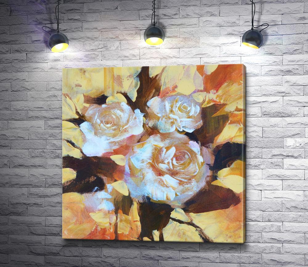 "Картина ""Три белых розы"""