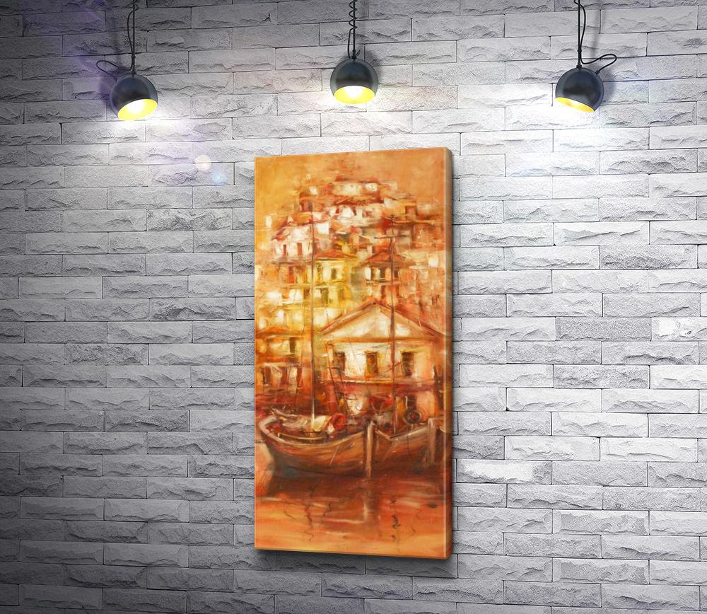 "Картина ""Лодки на фоне застроенного города """