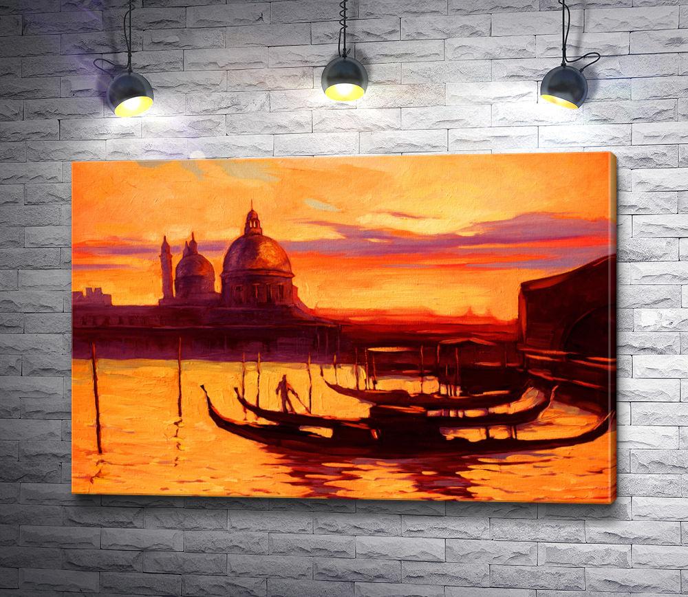 "Картина ""Гондолы на фоне архитектуры Венеции """