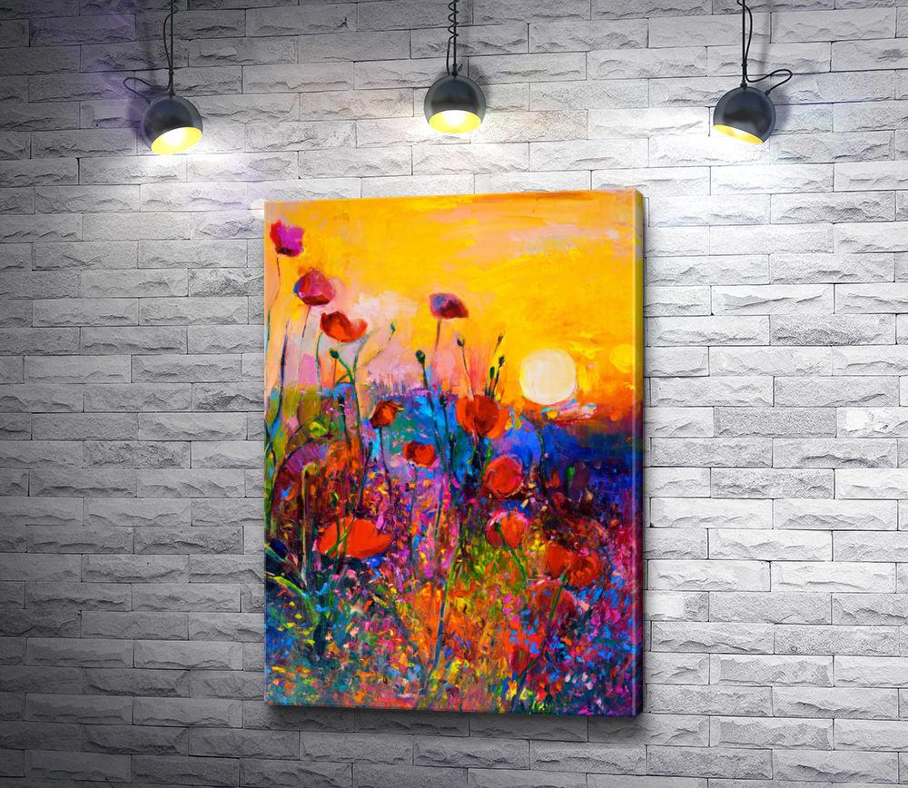 """Картина """"Полевые цветы на фоне заката"""""""