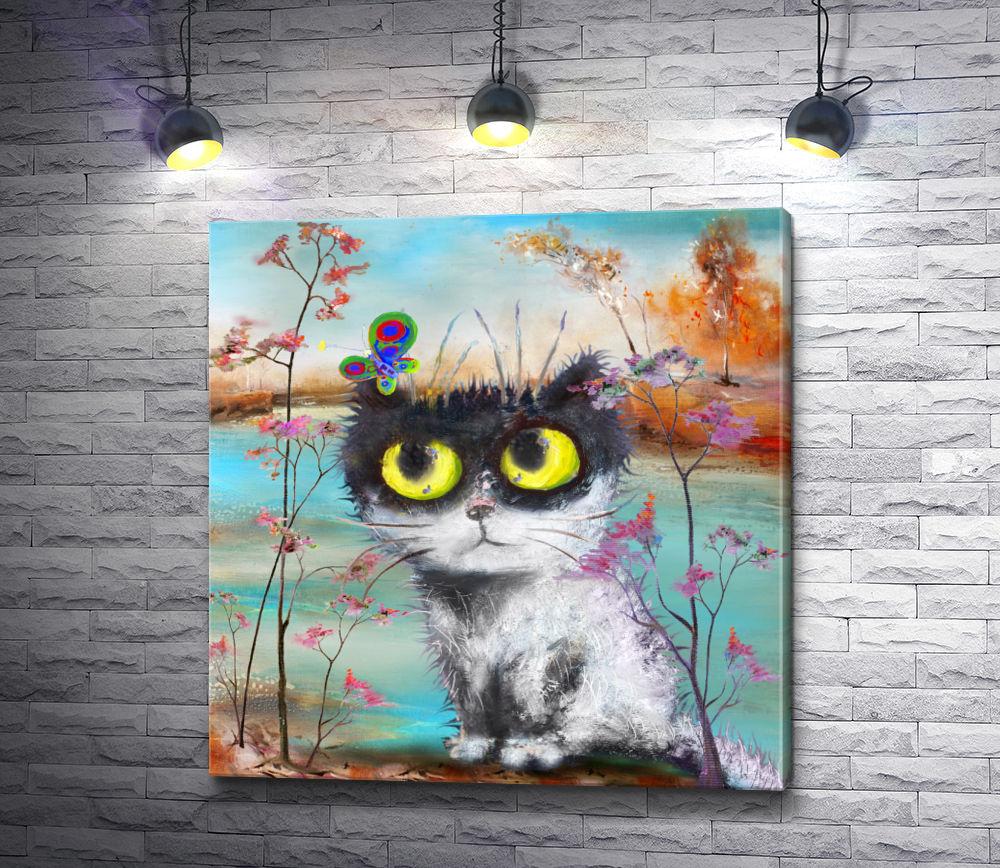 """Картина """"Пушистый кот и бабочка"""""""
