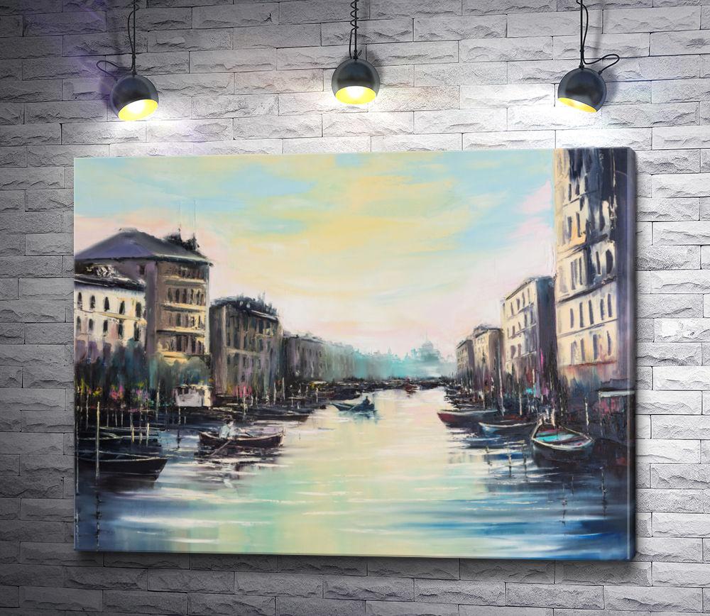 """Картина """"Река с лодками в городе"""""""