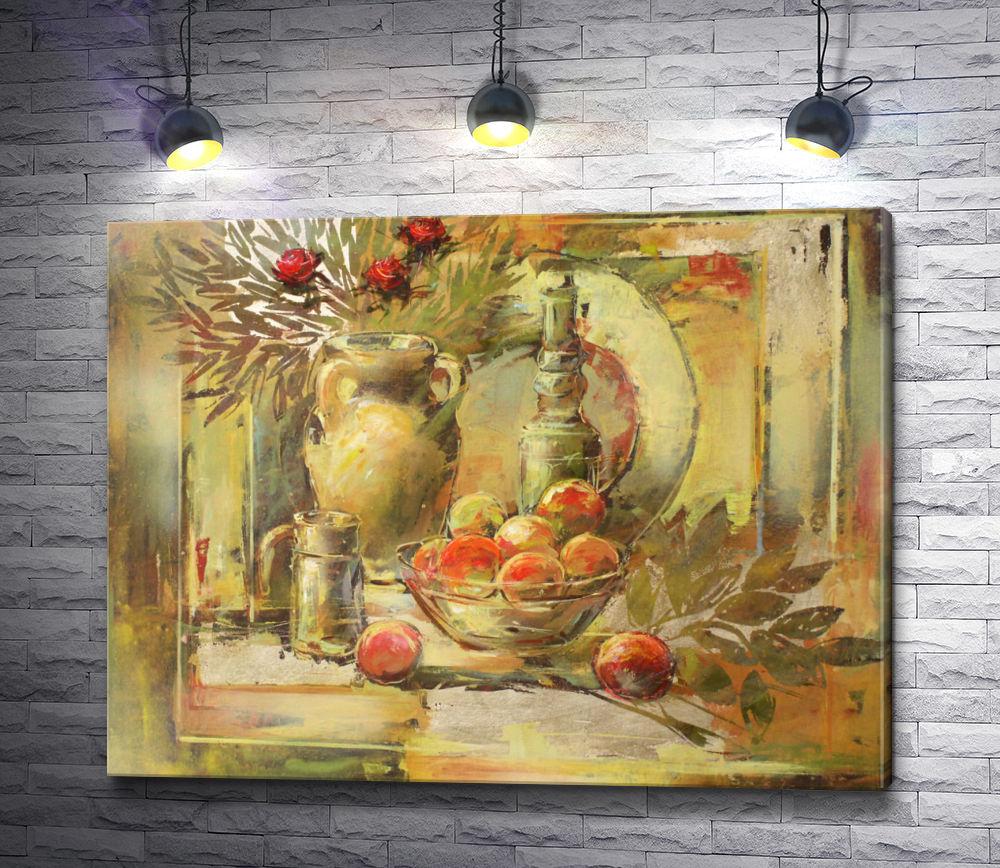"""Картина """"Натюрморт с яблоками и лавровыми листьями """""""