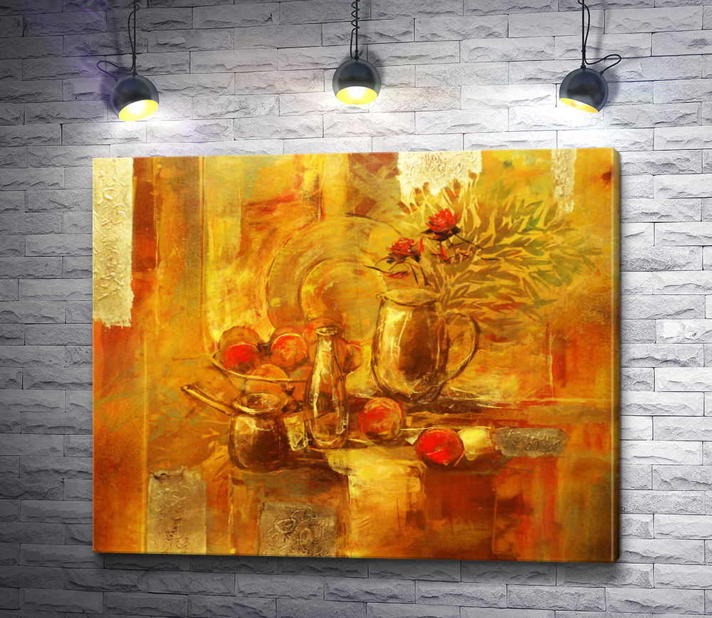 "Картина ""Натюрморт: цветы,  яблоки,  посуда  и ветки лавра"""