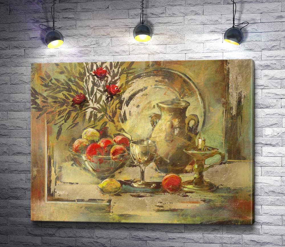 "Картина ""Натюрморт: яблоки,  бокал,  кувшин и листья """