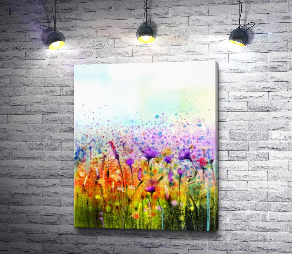 """Картина """"Разноцветные полевые цветы в стиле гранж"""""""
