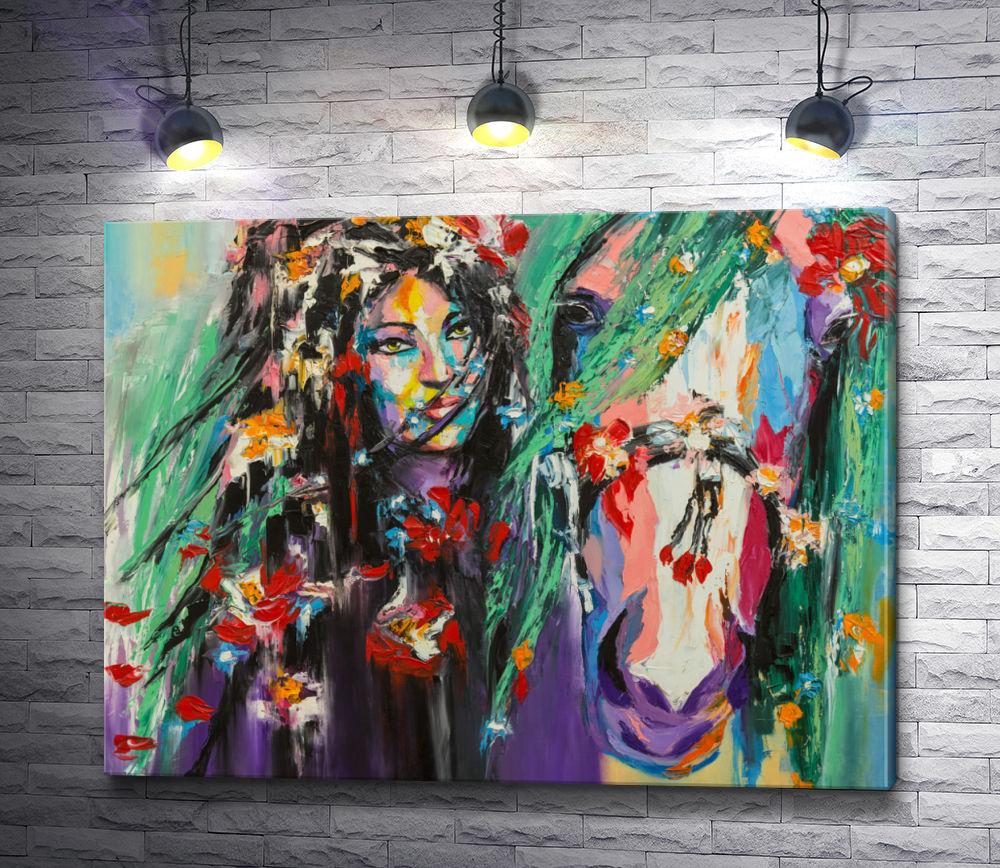 """Картина """"Девушка в цветах и белый конь """""""