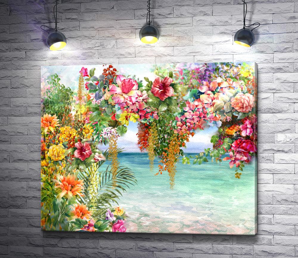 "Картина ""Вид на море сквозь арку из цветов"""