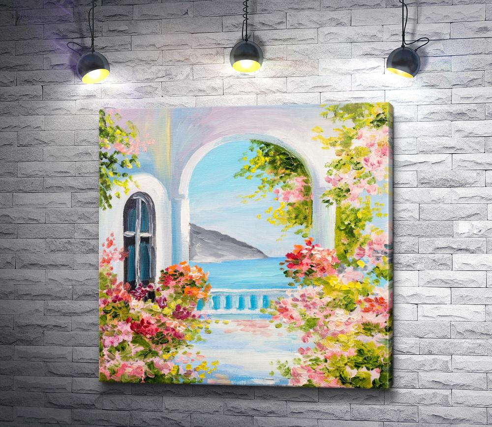 """Картина """"Цветочная веранда с видом на море и гору"""""""