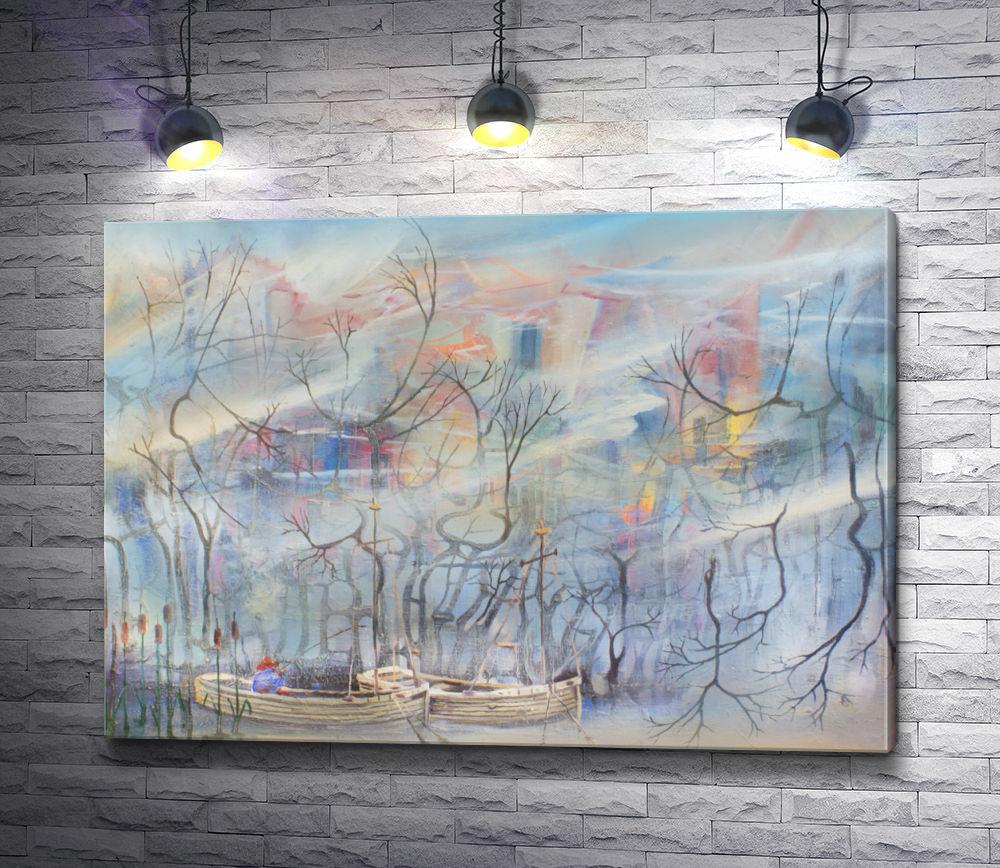 "Картина ""Две лодки среди засохших деревьев """