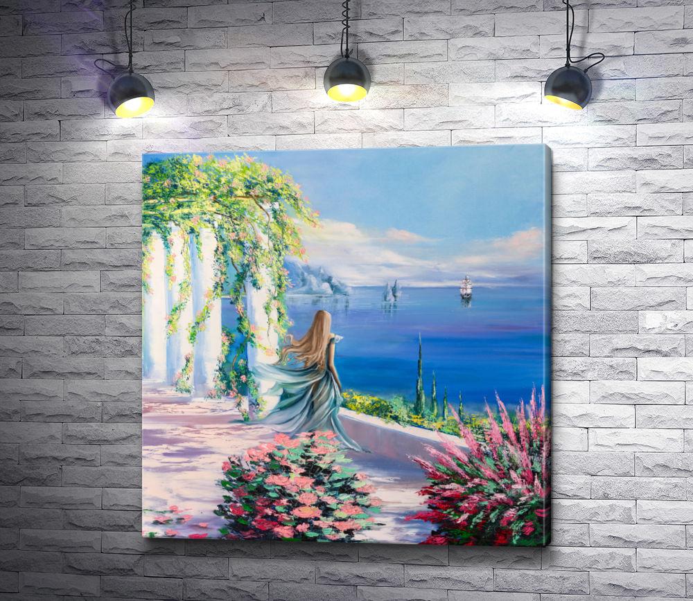 "Картина ""Девушка смотрит на корабли """