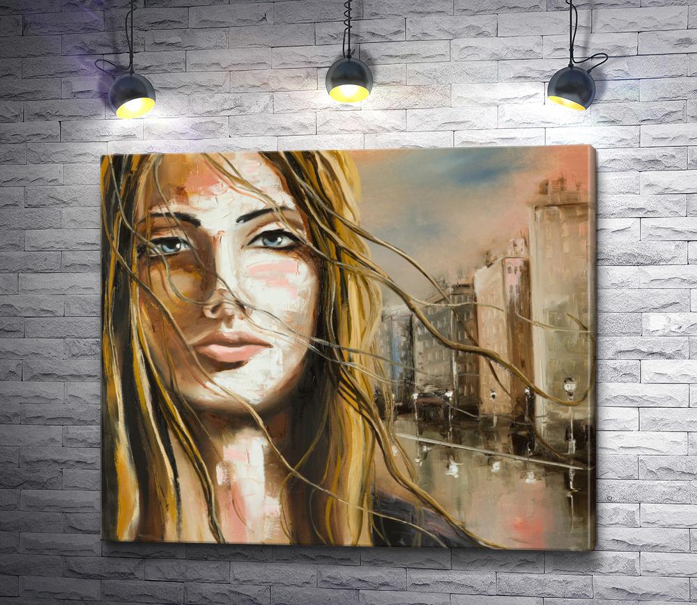 """Картина """"Красивая девушка на фоне города """""""