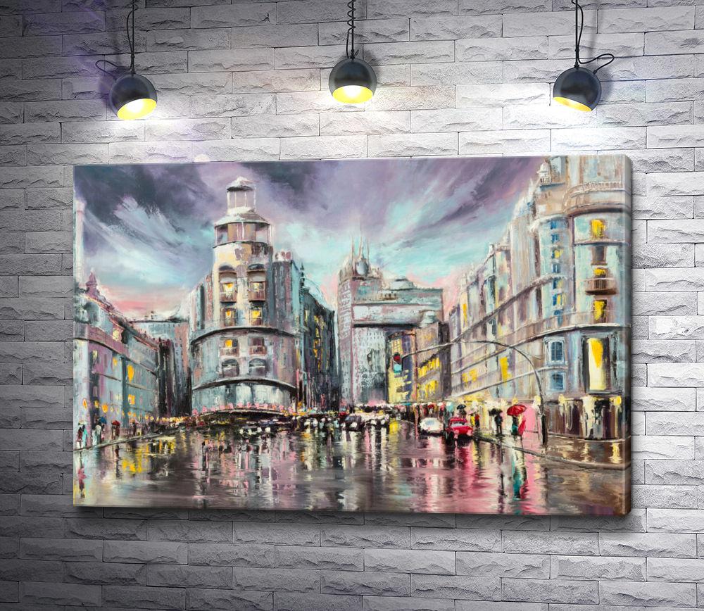 "Картина ""Улица Гран-Виа в дождливую погоду,  Мадрид """