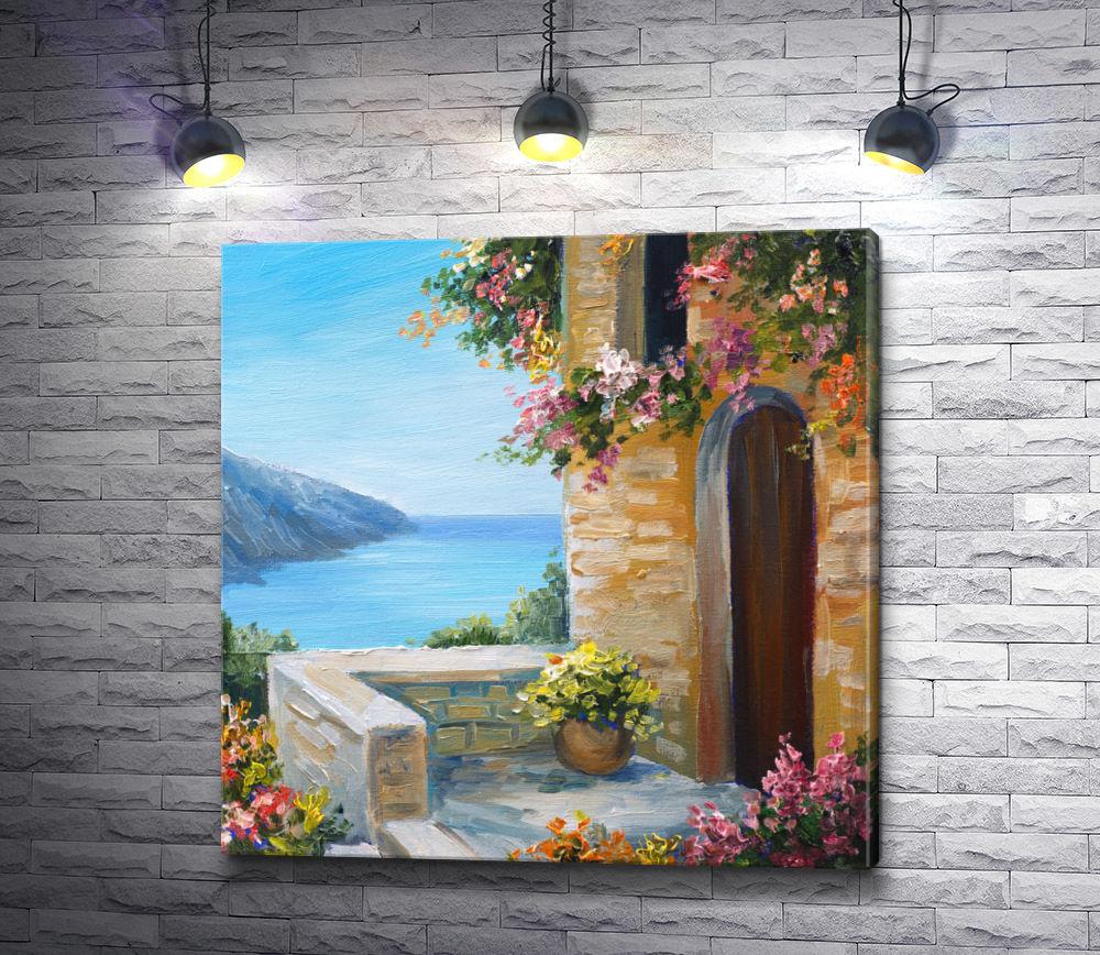 """Картина """"Крыльцо с восхитительным видом на море """""""