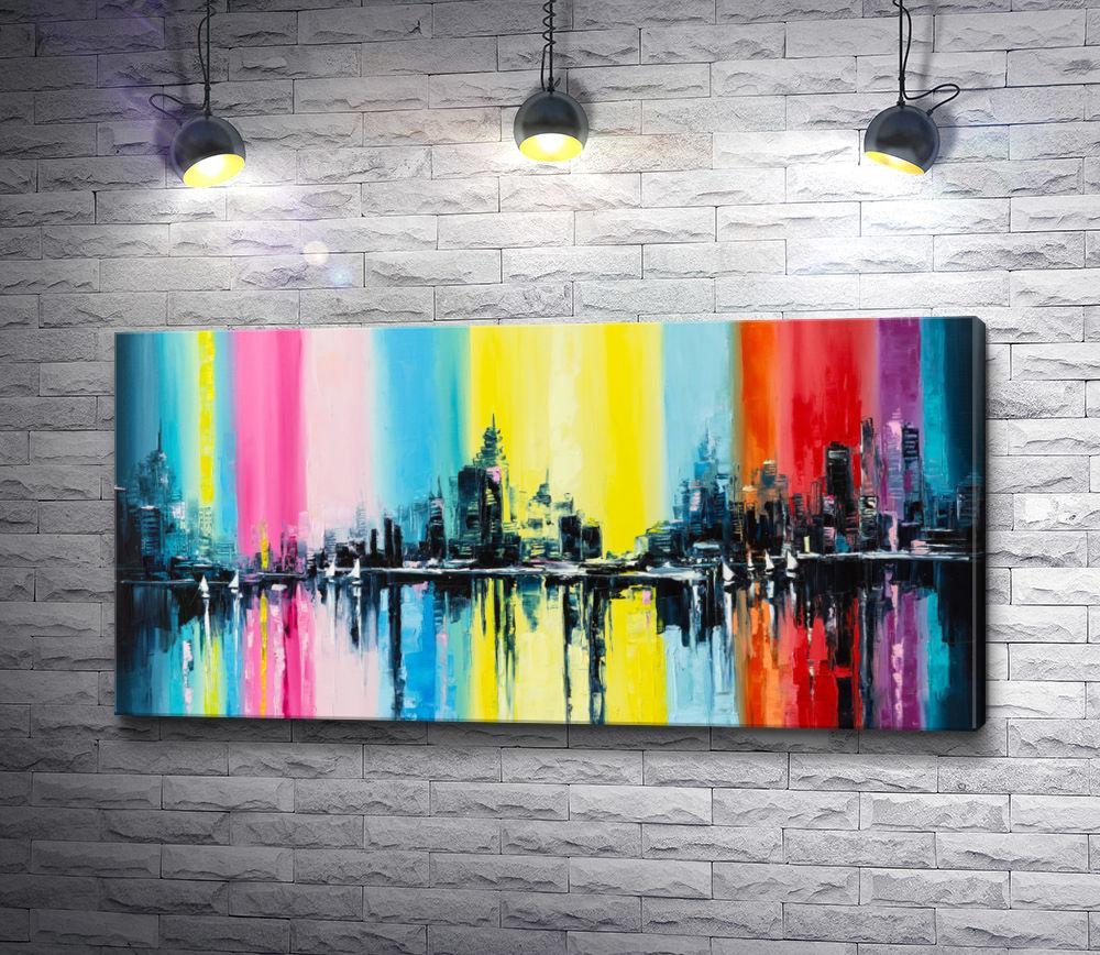 """Картина """"Город на разноцветном фоне"""""""