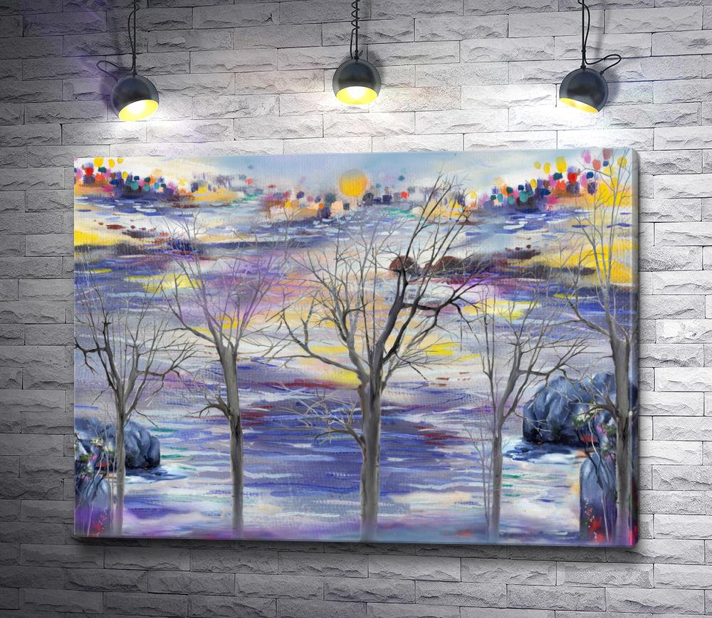"""Картина """"Деревья на фоне реки """""""