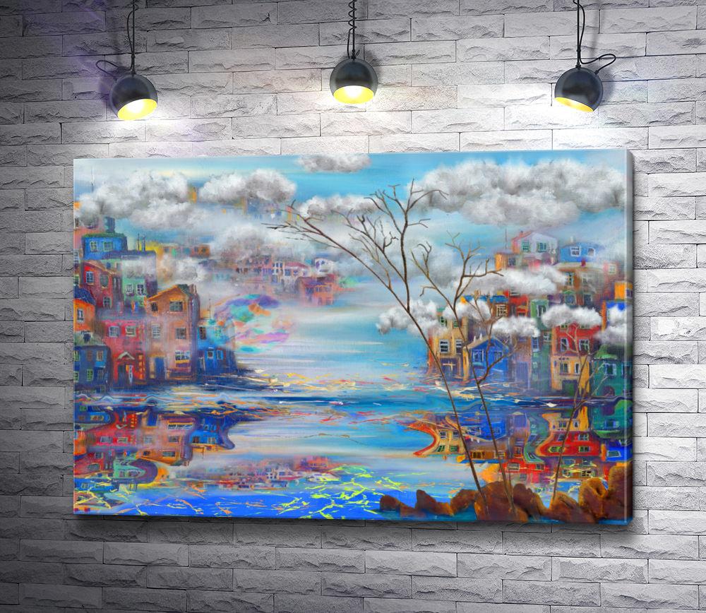 """Картина """"Город с разноцветными домиками в облаках"""""""
