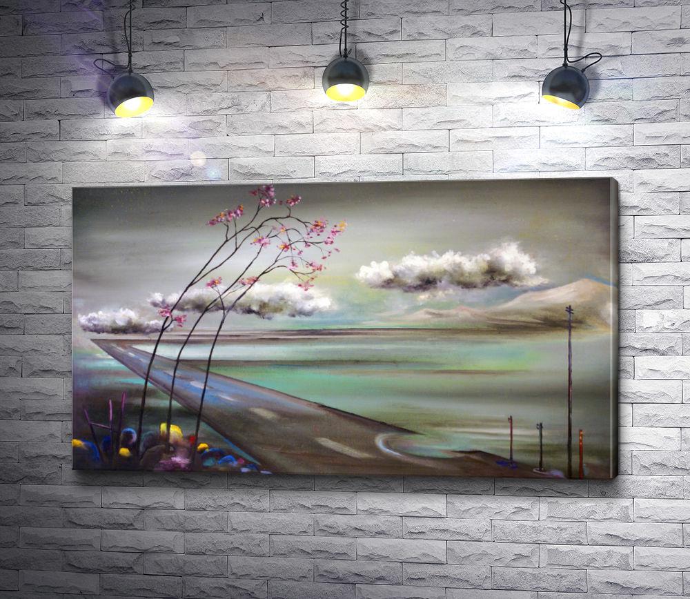 "Картина ""Облака над дорогой,  уходящей за горизонт"""