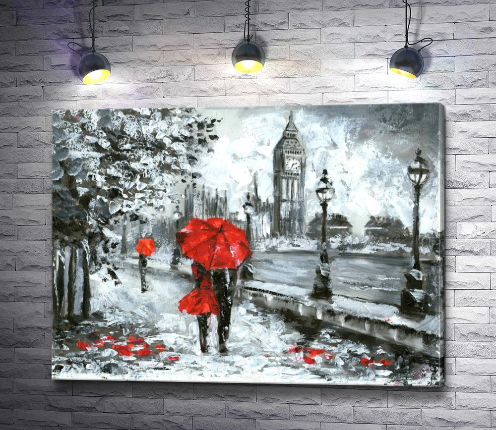 """Картина """"Пара под зонтом на улице Лондона в черно-белой гамме"""""""