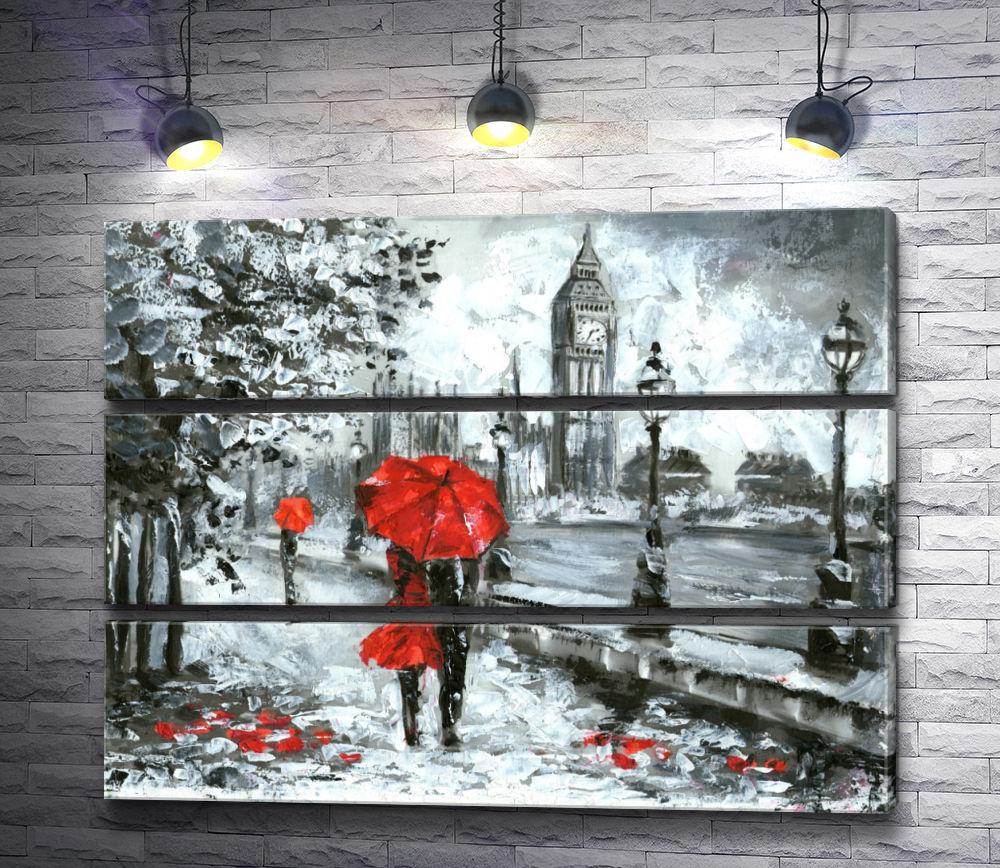 """Картина """"Пара под зонтом на улице Лондона в черно-белой гамме"""" из 3-х частей (модуль №13)"""