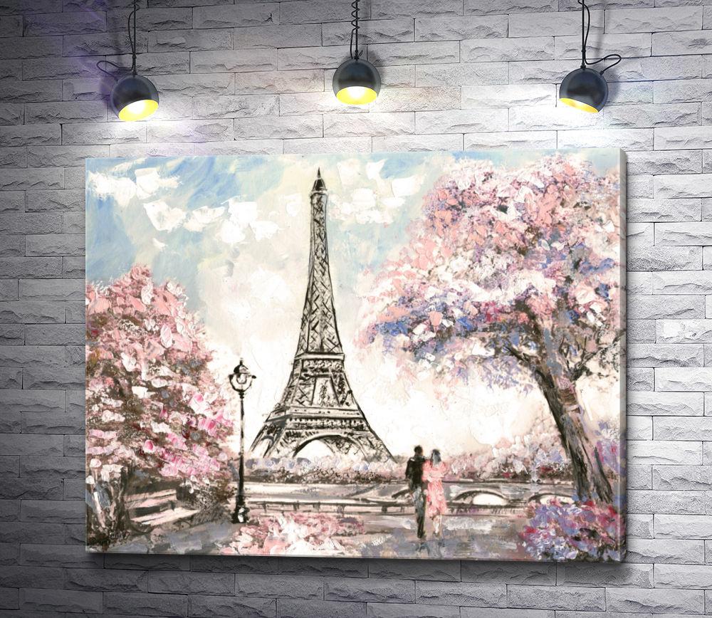 """Картина """"Влюбленные на фоне Эйфелевой башни, Париж"""""""
