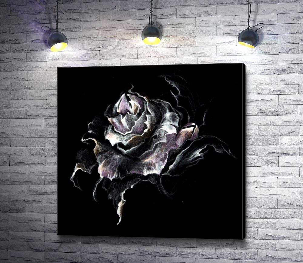 """Картина """"Роза в черно-белой гамме"""""""