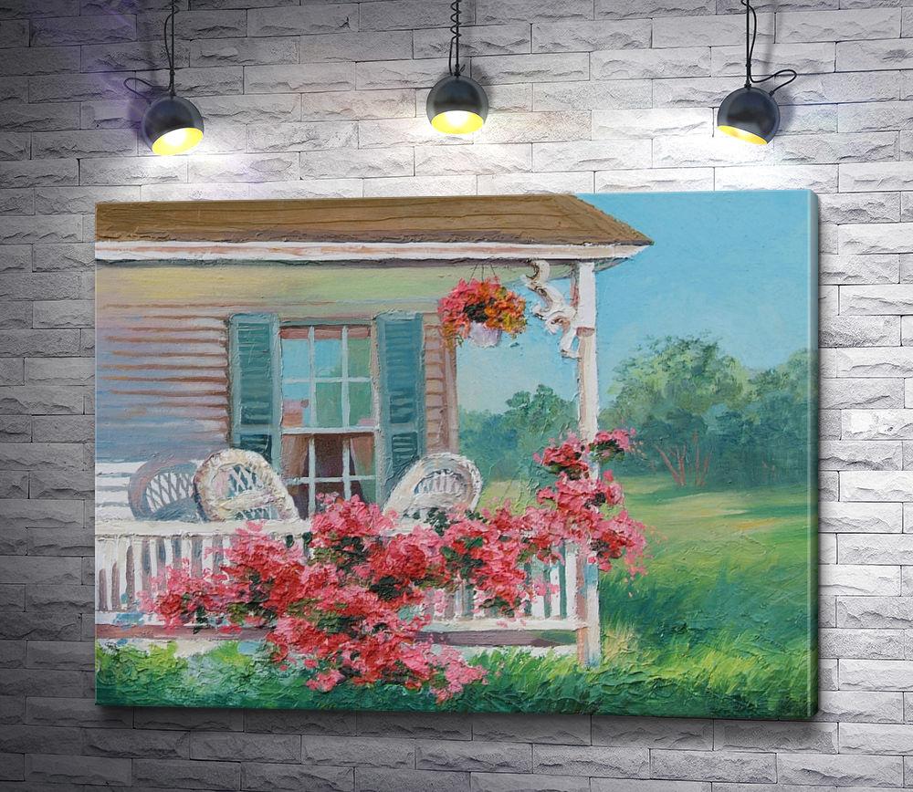 """Картина """"Дом со стульями на крыльце и клумбой цветов"""""""
