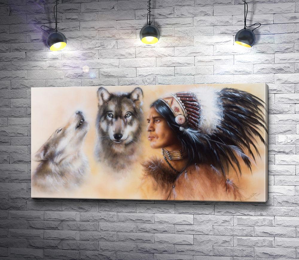 "Картина ""Индийский воин с двумя волками """