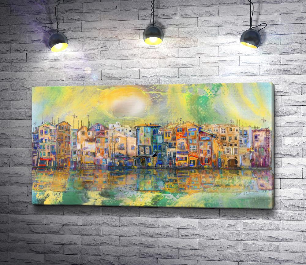"""Картина """"Разноцветные дома отражаются в воде"""""""