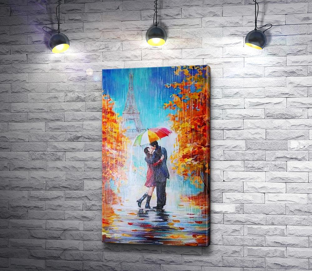 """Картина """"Пара целуется под зонтиком на фоне Эйфелевой башни, Париж"""""""