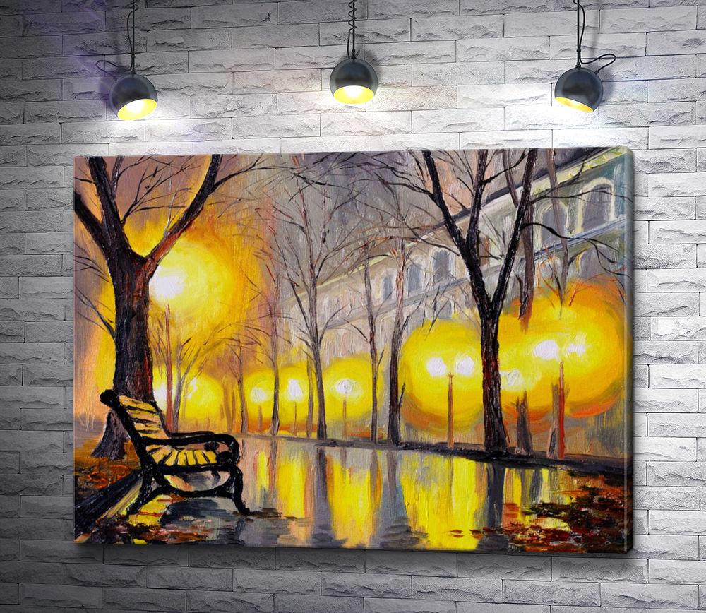 """Картина """"Ночная аллея в осеннем парке"""""""