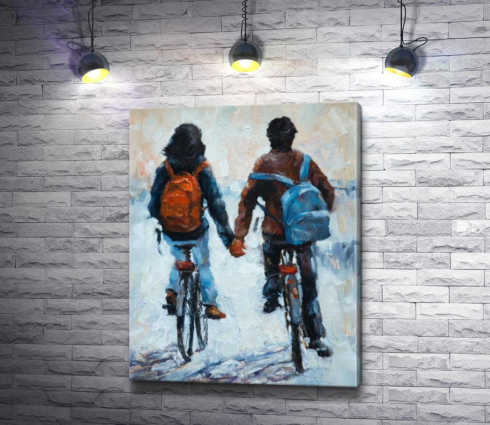 """Картина """"Парень и девушка на велосипедах держатся за руки"""""""