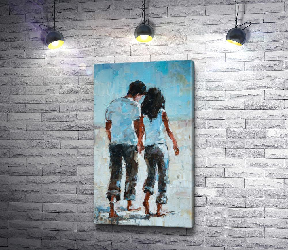 """Картина """"Влюбленные гуляют босиком по пляжу"""""""