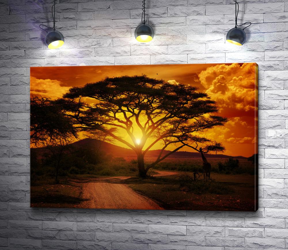 """Картина """"Жираф провожает солнце """""""