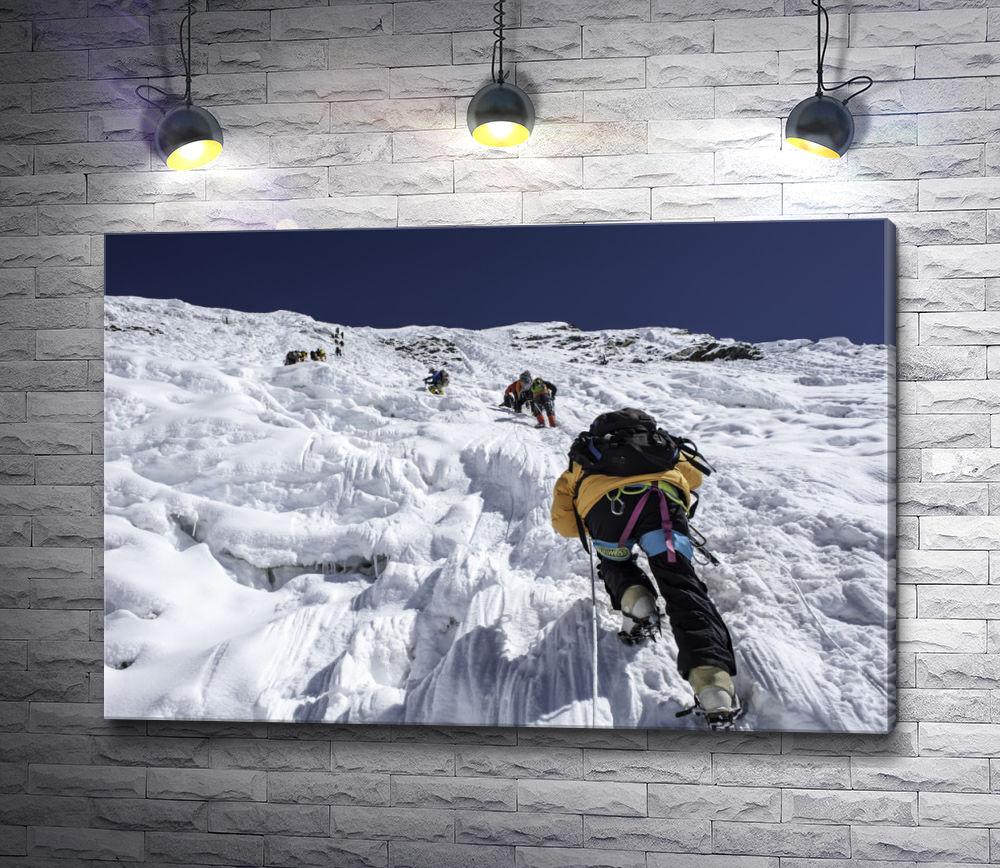 """Картина """"Альпинисты взбираются на снежную гору"""""""